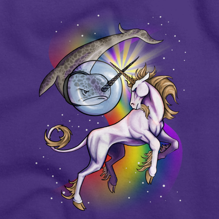 Unicorn vs Narwhal Duel T-shirt