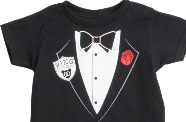 We Ve Designed This Special Take On The Tuxedo T Shirt Just For Them Complete With Printed Ring Security Services Badge Lapel